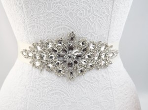 Crystal Rhinestone Bridal Belt/sash- Sheer Antique White Ribbon