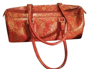 Wilsons Leather Tote in Red n Gold