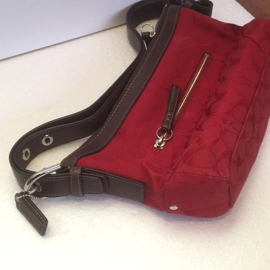 Coach Satchel in Red with brown accents