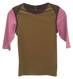 Club Monaco T Shirt Olive Green/Pink