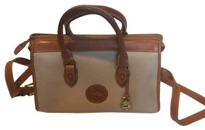 Dooney & Bourke Satchel in Cream With Tan Trim