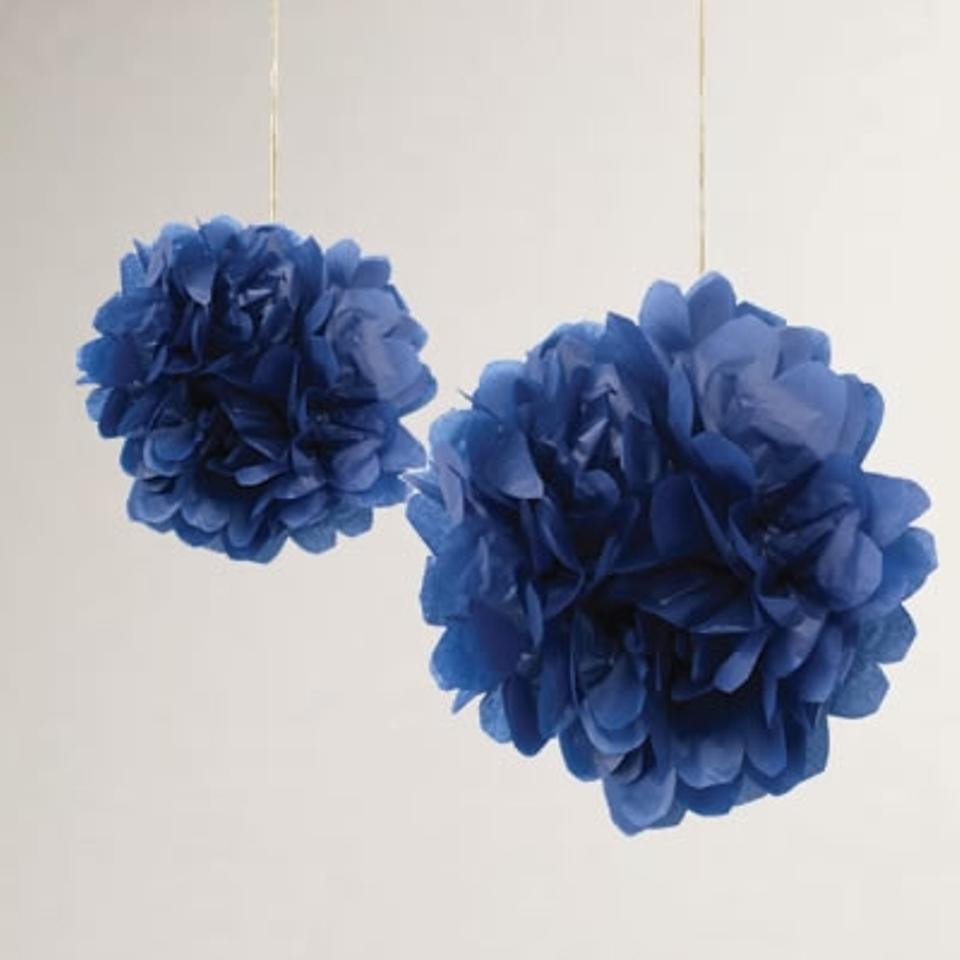 15pcs 4 8 12 mixed 3 sizes navy blue tissue paper pom for Hanging pom poms from ceiling