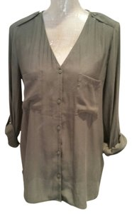 H&M Military Roll Tab Button Down Top olive