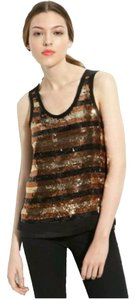 Marc by Marc Jacobs Sequin Gold Bronze Holiday Silk Tank Top Gold/Black