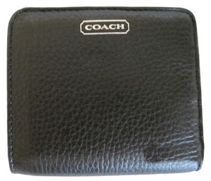 Coach COACH Park Small Wallet Black Leather Silver Hardware