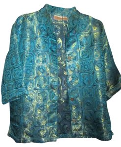 Chico's teal/turquois green with print Jacket