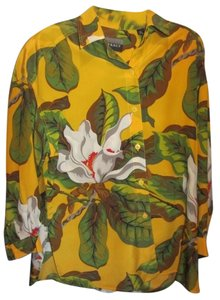Ellen Tracy Top yellow with floral print