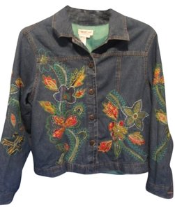 Coldwater Creek blue denim with embroidery Womens Jean Jacket