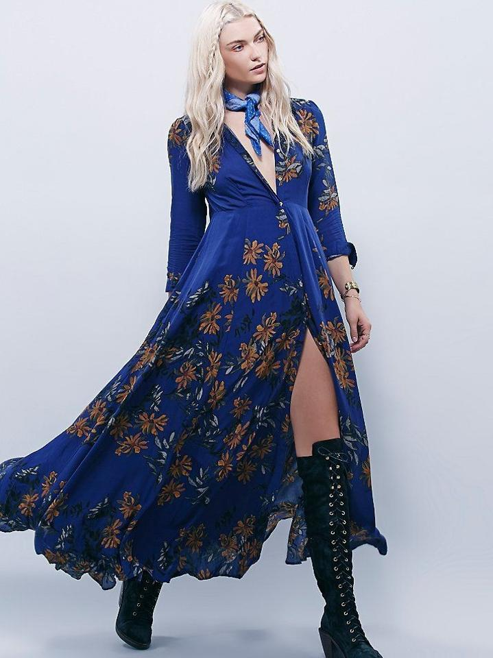 6337af786547 Marine Maxi Dress by Free People Blue Longsleeve Full Length Winter Fall  Image 5. 123456