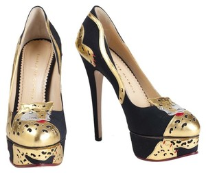 Charlotte Olympia Ninivah Cat Stiletto Platform Leopard Exotic Suede Metallic Black/Gold Pumps