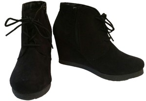 Merona Suede Zip Up Lace Up black Boots