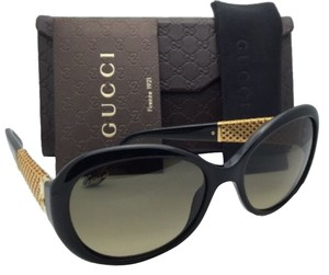 Gucci New GUCCI Sunglasses GG 3693/S 2XTED Black & Gold Plated Frame w/ Brown Gradient Lenses