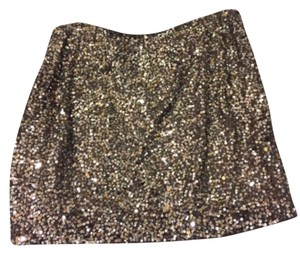 Vince Sequin Sparkle Mini Holiday Classic Mini Skirt Gold