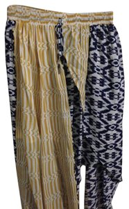 Anthropologie High-low High Lo Midi Skirt Navy Blue, Yellow and White