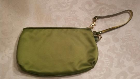 Coach Wristlet Amanda Green Satin Holiday Party Evening Leather Grass Clutch