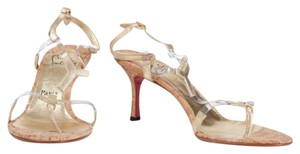 Christian Louboutin Red Sole Leather Gold Cork Mule Platform Stiletto Heel Loub Cork, Red Sandals