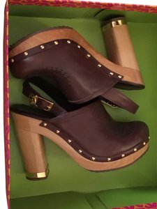 Tory Burch Tb Leather Wood 6.5 Brown Mules