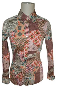 Etro High Button Down Shirt Multi colored with a brown base