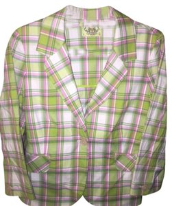 Juicy Couture Plaid Jacket Plaid-pink, white, green Blazer