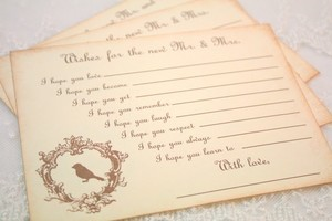 90 Vintage Bird Wedding Wish Cards Unique Guestbook Alternative