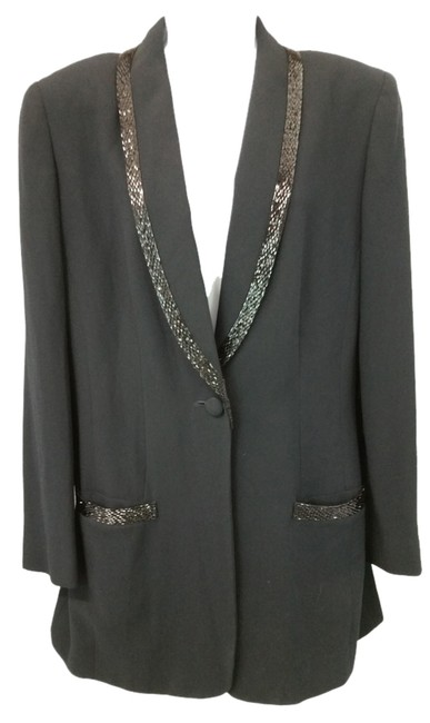 Preload https://img-static.tradesy.com/item/9141346/black-single-breasted-embellished-trim-cocktail-tuxedo-jacket-blazer-size-8-m-0-2-650-650.jpg
