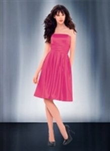 Bill Levkoff Pink Satin Style 685 Color Watermelon Destination Bridesmaid/Mob Dress Size 6 (S)