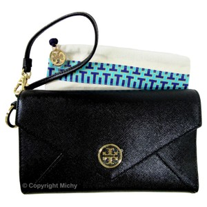 Tory Burch Tri-fold Wallet Clutch Wristlet in Black