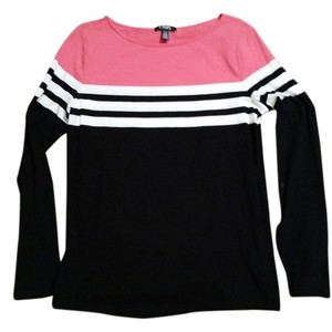 Chaps T Shirt Black, White and Bright Pink