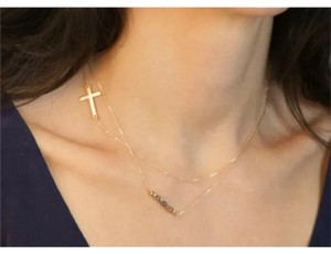 Other Savanna Layered Layer Cross Crystal Gold Chain