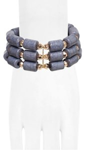 RAIN STEEL BLUE THREE ROW BEADED BRACELET