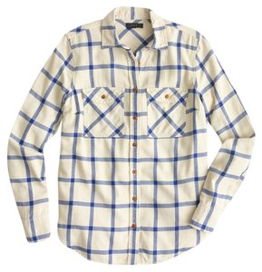 J.Crew Plaid Flannel Boyfriend Shirt Button Down Shirt Cream/Navy