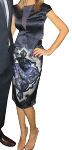 Emilio Pucci Silk Peplum Navy Wedding Guest Dress