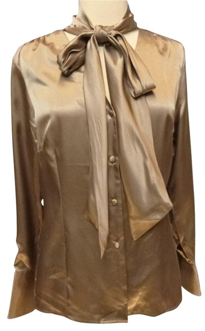 Item - Gold Liquid Satin Tie Collar Blouse Size 8 (M)