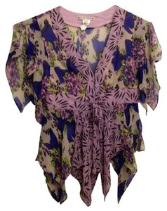 Nanette Lepore Silk Beaded Top purple print