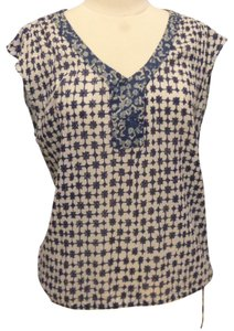 Lucky Brand Gauzy Cotton Tie Waist Top blue