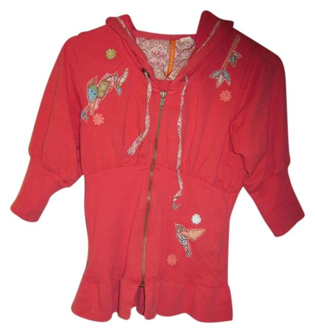 Item - Coral Hooded Peplum Bohemian Zipper Front Activewear Size 4 (S)