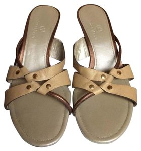 Cole Haan Beige and Gold leather Sandals
