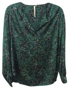 Nordstrom Floral Satin Top Green