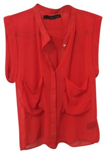 Patterson J. Kincaid Oversized Button Down Shirt Red