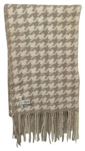 Banana Republic Tan and White Houndstooth Wool & Cashmere Scarf