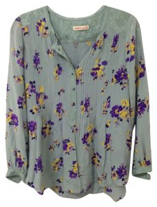 Rebecca Taylor Floral Silk Top Blue