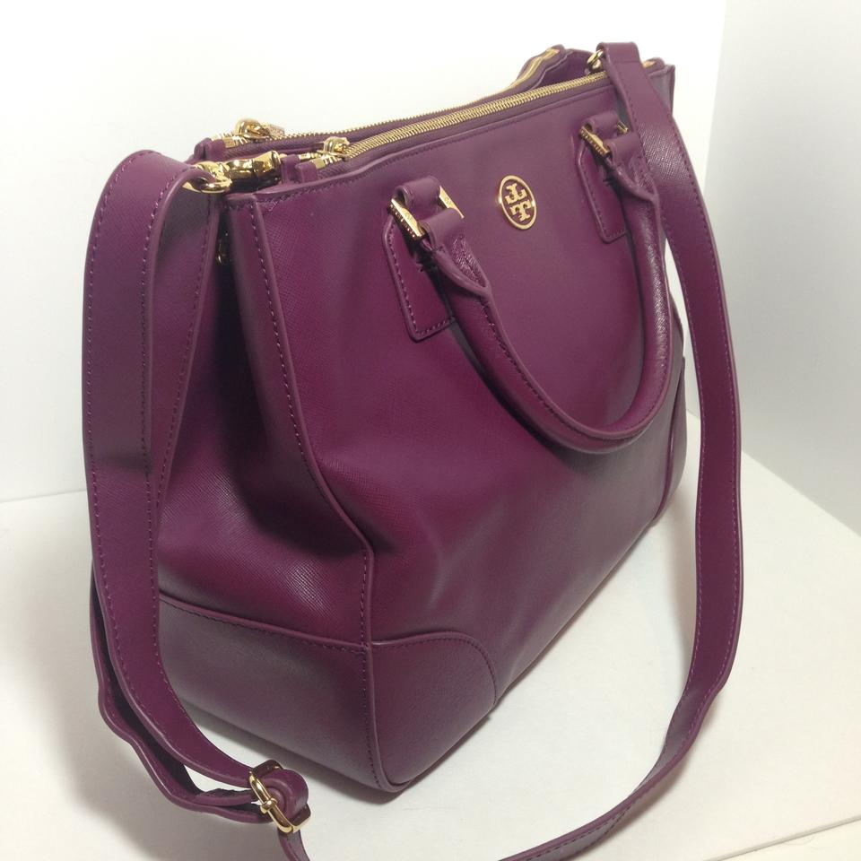 Tory Burch Robinson Double Zip Tote Dark Orchid Saffiano Leather Satchel -  Tradesy 8129d3c3d308d