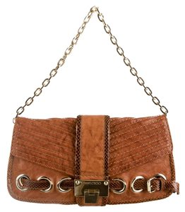 Jimmy Choo Snakeskin Clutch Leather Shoulder Bag