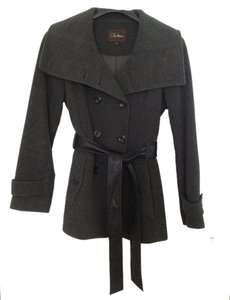 Cole Haan Wool Cashmere Belted Wide Lapel Pea Coat