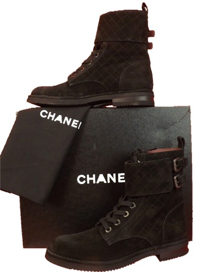 Preload https://img-static.tradesy.com/item/9147796/chanel-black-quilted-suede-lace-up-cc-logo-belted-short-combat-bootsbooties-size-eu-41-approx-us-11-0-1-540-540.jpg