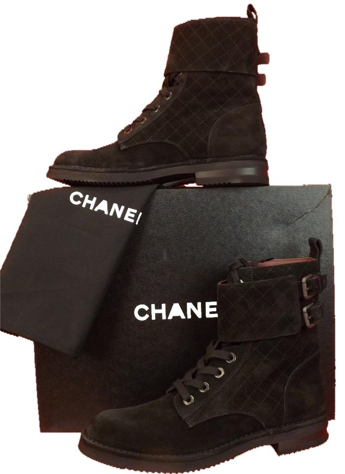 Chanel Black Quilted Suede Lace Up Cc Logo Belted Short Combat Boots