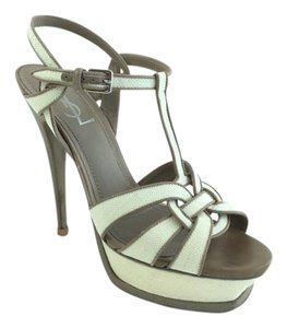 Saint Laurent Pump Sandal Ysl Beige Pumps