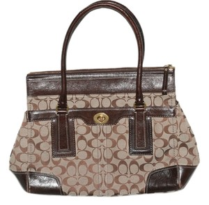 Coach Leather Trim Sign Jacquard Fabric Tote in Brown