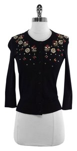 Kate Spade Black Beaded Cotton Blend Cardigan