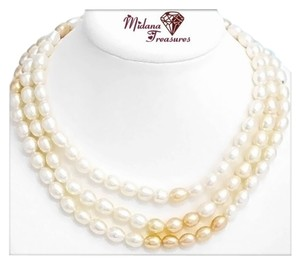 Other 3 Row White & Peach Cultured Freshwater Pearl Necklace